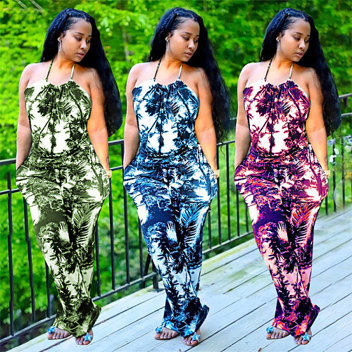 Women Tie Dye Printed Halter Backless Bodycon Jumpsuits YL-2024