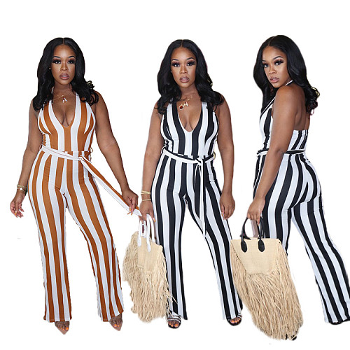 Sexy Striped Halter V-neck Open Back Women Jumpsuits XING-057