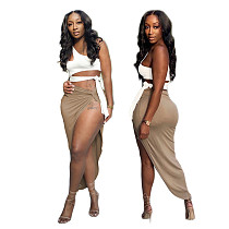 Solid One Shoulder Sleeveless Crop Top Long Skirts Two Piece Set CHENGX-059