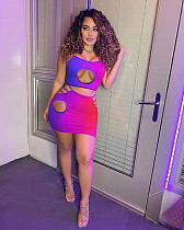 Gradient Color Hollow Out Crop Top Skinny Mini Skirt 2 Piece Sets HB-4010