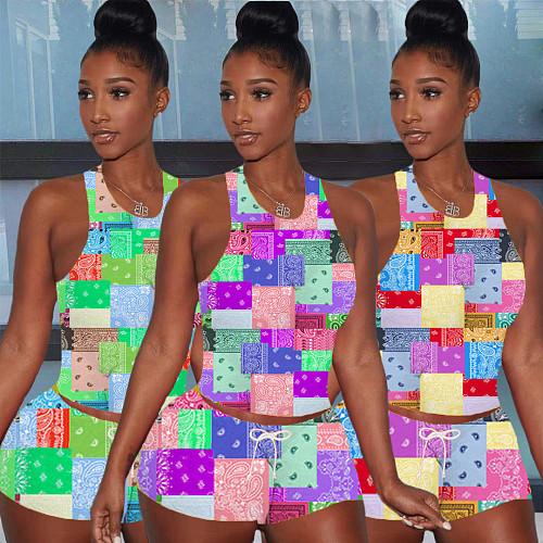 Bandana Paisley Print Sleeveless Vest Tops Shorts 2 Piece Set XING-052