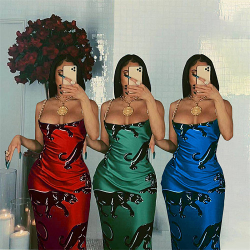 Women Sexy Print Sleeveless High Waist Skinny Long Dresses YL-2025