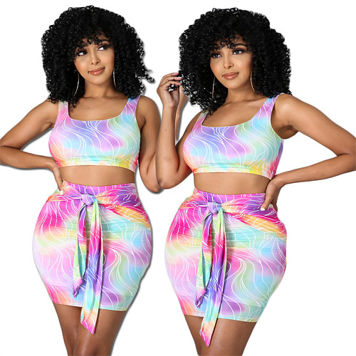 Women Tie Dye Vest Crop Top Mini Skirt Bodycon 2 Piece Outfits CHENGX-063