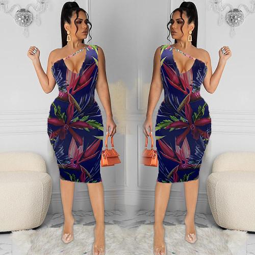 Women Print Sleeeveless One Shoulder Skinny Midi Slim Dresses HB-4018