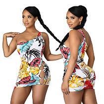 2021 Hot Sale One Shoulder Bodysuit+Mini Skirts 2 Piece Sets CHENGX-062