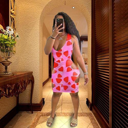 Summer Heart Print Hollow Out Sleeveless Sexy Mini Dress HB-4014