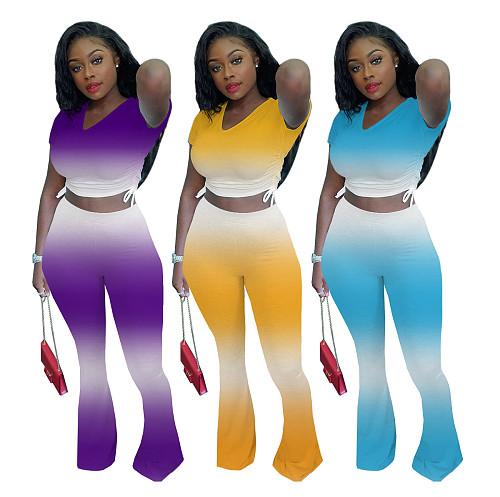 Casual Gradient Short Sleeve Crop Top Flare Pants 2 Piece Set XING-004