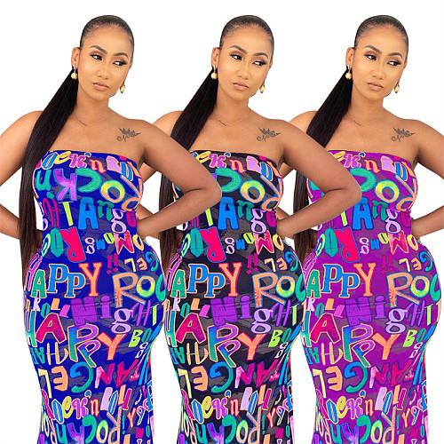 Sexy Letter Print Strapless Women Bodycon Long Maxi Dress YL-2039