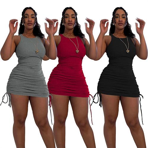 Women's Summer New Solid Drawstring Elastic Vest Mini Dress ZONGK-1065