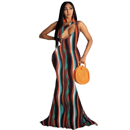 Women Fashion Print One -Shoulder Hollow Out Maxi Long Dress HB-4015