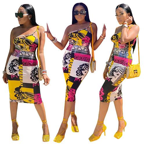 Women One Shoulder Spaghetti Strap Printed Bodycon Midi Dress MEY-2052