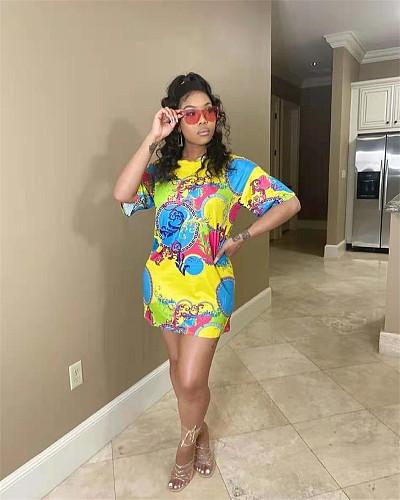 Women Summer Print O-neck Short Sleeve Loose Tee Dress NYZ-6012