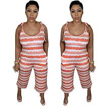 Fashion Women Stripe Tie Dye Print Sleeveless Straight Jumpsuits YYUAN-6591
