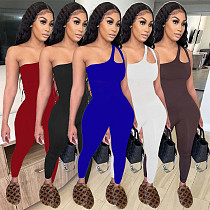 Women One Shoulder Sleeveless Solid Color Bodycon Jumpsuit MOF-6621