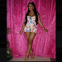 Sexy Women Starfish Print Sleeveless Sling Bodycon Mini Dress YL-2023