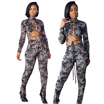Women Camouflage Lace Up Hollow Out Long Sleeve Jumpsuit  WSY-5816