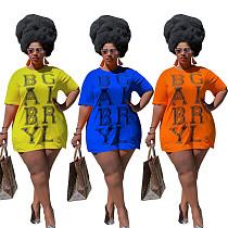 Plus Size Letter Print O-neck Short Sleeve T-shirt Mini Dress FOS-8079
