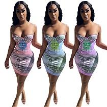 Sexy Wrap Corset Bodycon Dollar Printed Elastic Pencil Dress SZ-9074
