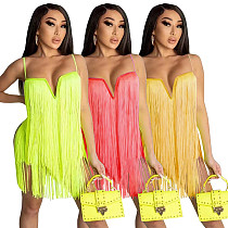 Sexy Solid Color Club Tassel Fringe V Neck Bodycon Mini Dress SZ-8085
