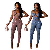 Sexy Halter Hollow Out Bandage Print Women Bodycon Jumpsuit CHENGX-066