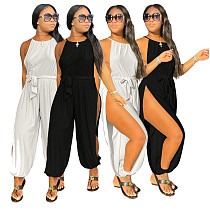 Women Sexy Solid Color Sleeveless Halter High Side Slitting Jumpsuit MO-161