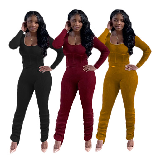 Women Tracksuits Solid Color Long Sleeve Round Neck Crop Top Sports Long Pants Two Piece Outfit MO-102