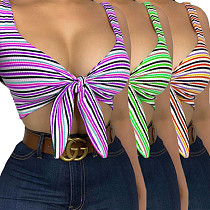 Summer Original Design Sexy Strappy Striped Off Shoulder Sleeveless Bandage Skinny Vest Crop Top ANDI-0502