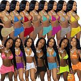 Summer Vacation 2021 Solid Color Halter Neck Beachwear Bra Tops+Bodycon Mini Skirts 2 Piece Bikini Set AL-200