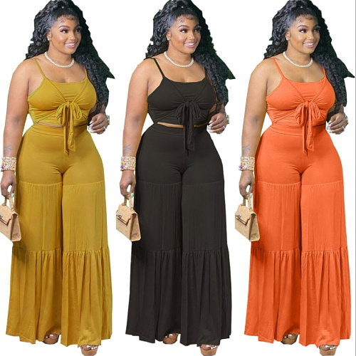Women Plus Size Solid Color Spaghetti Strap Lace-up Crop Tops Wide Leg Pants Casual Loose 2 Pieces Set FNN-8607