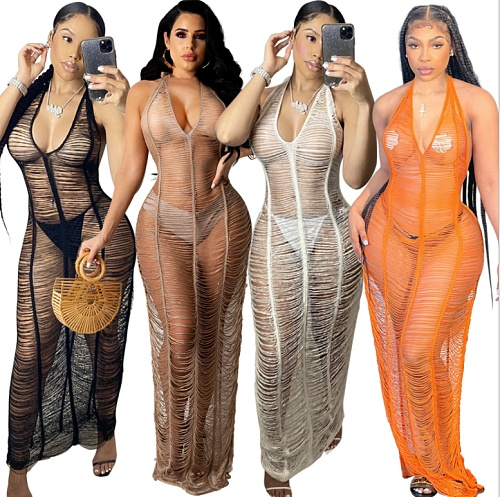 Summer Sexy Solid Color Sleeveless See Through Hollow Out Deep V Neck Halter Cover Up Beach Dress ZS-098