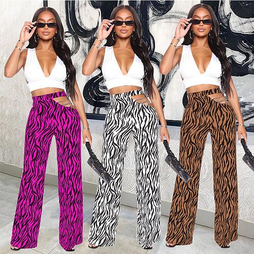 Sexy High Waist Women Fashion Zebra Animal Print Hollow Out Chain Stitching Flare Long Pants YL-4083