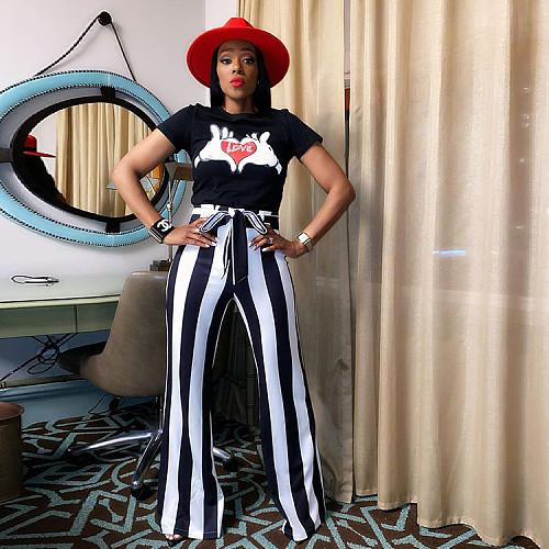 2021 Summer New Women Short Sleeve O-Neck T-Shirt Striped Bow Tie Bell Bottom Pants 2 Piece Outfits SZ-9071