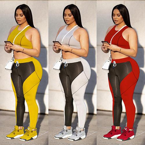 Women Sexy Patchwork Sleeveless Crop Top Sports Vest Pencil Pants Leggings Two Piece Matching Set MEY-2022