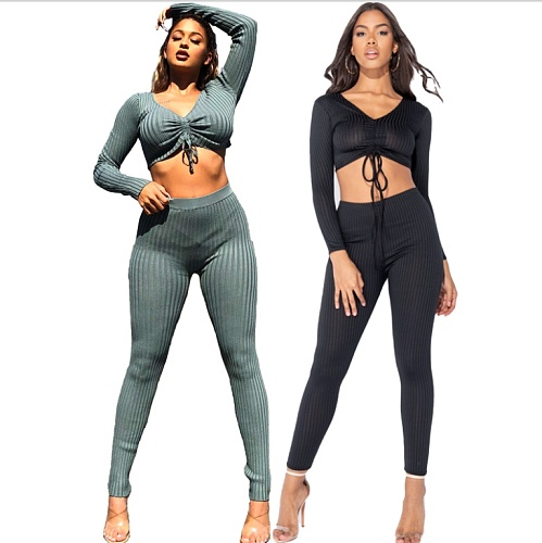 Women Spring Long Sleeve Solid Drawstring Front Rib-Knit Crop Top Leggings Slim Fit Two Piece Set WSY-5802