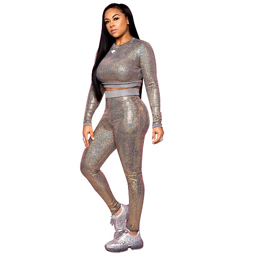 Spring Autumn Sequin Long Sleeve O-Neck Sparkly Crop Top Pants Club Two Piece Outfits YYUAN-6482