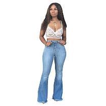 2021 Summer Plus Size Women Sexy Striped Print Push Up High Waist Stretch Denim Button Flare Pants LA-3118