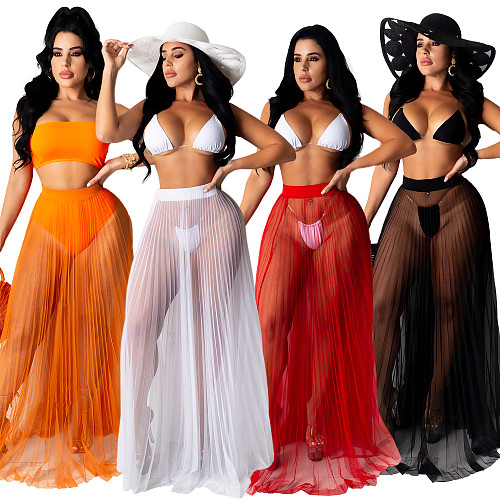 Women Sexy Solid Color See Through Cover Up Swimwear Sheer Mesh Beach Maxi Wrap Long Skirt OSM-4341