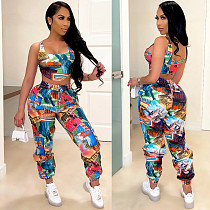 Hot Style Sexy Print Women Sleeveless Crop Top Sweat Pants Summer Two Piece Tracksuit Set JR-3623