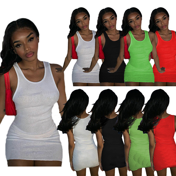 New Arrivals Women's Summer Sleeveless Round Neck Solid Colors Elastic Skinny Party Vest Mini Dress TCX-066
