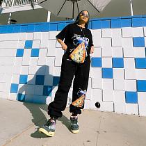Hip Hop Sporty ET Pattern Print Short Sleeve O-Neck T-Shirt Sweatpant Loose Casual Two Piece Set ZNN-8026