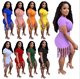 Plus Size Women Solid Color Short Sleeve O-Neck Crop Tops Elastic Tassel Shorts Fitness Two Piece Set MTY-6529