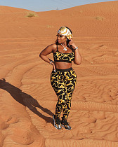 Sexy Print Sleeveless Spaghetti Straps Crop Top Legging Pants Fitness Two Piece Outfits ZNN-9039