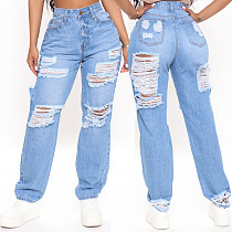 Women Casual Streetwear High Waist Hole Ripped Straight Washed Make Old Wide Leg Denim Pants LX-5505