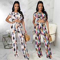 Summer Women Colorblock Print Short Sleeve O-Neck Crop Top High Waist Straight Pants Two Piece Outfits SMR-10280