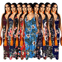 Hot Style Women's Summer Boho Floral Print Sleeveless V Neck Loose Long Maxi Party Beach Dress SMR-10200