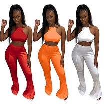 Sexy Solid Color Backless Halter Crop Top Bandage Flare Pants Women Clubwear Two Piece Matching Set MOD-047