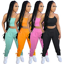 Plus Size Womens Casual Solid Color Spaghetti Strap Cropped Cami Top Jogger Pants Summer Two Piece Outfits HGL-1659