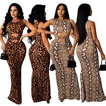 Elegant Serpentine Leopard Print Sleeveless Cut Out Women's Summer Bodycon Club Party Long Dresses OSM-4344