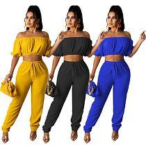 Sexy Solid Color High Elastic Off Shoulder Short Sleeve Crop Top Drawstring Long Pants Women 2 Piece Set YSF-476