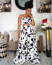 Fashion Women Print Sleeveless Spaghetti Strap Crop Top Wide Leg Pants Summer 2 Pieces Set KDN-2183